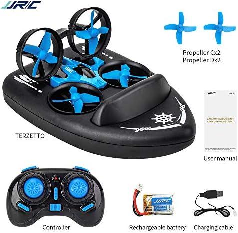 Goolsky JJRC H36F Terzetto 3 en 1 Drone Bateau Voiture Mode Eau Mode Sol Mode Air Mode 3-Mode Altitude Tenue sans Tête Mode RC Quadricoptère Cadeau pour Enfants