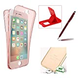Case for iPhone 7,Silicone TPU Cover for iPhone 7,Herzzer Ultra thin Soft TPU Gel Slim Fit Scratch Resistant Front and Back Full Body 360 Degree Protective Case for iPhone 7 4.7 inch + 1 x Free Red Cellphone Kickstand + 1 x Free Claret-Red Stylus Pen - Rose Gold