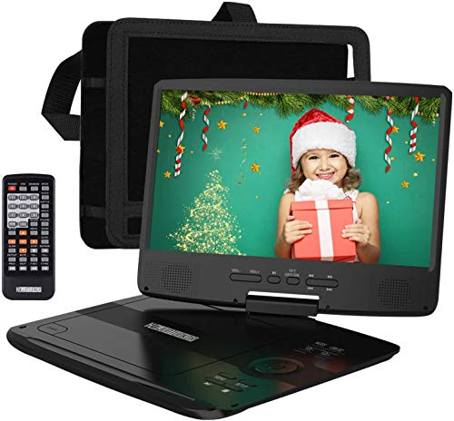 HDJUNTUNKOR Portable DVD Player with 10.1″ HD Swivel Display Screen, 5 Hour Rechargeable Battery, Support CD/DVD/SD Card/USB, Car Headrest Case, Car Charger, Unique Extra Button Design