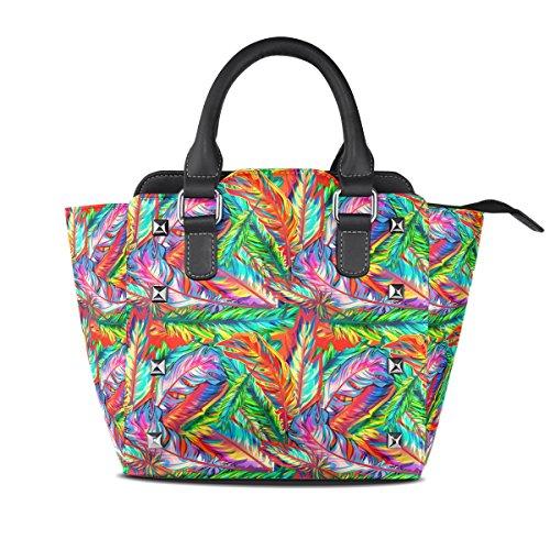 COOSUN Mujeres plumas brillantes PU cuero Bolsa de hombro asa superior del totalizador del bolso del bolso de Crossbody Medio Multicolor