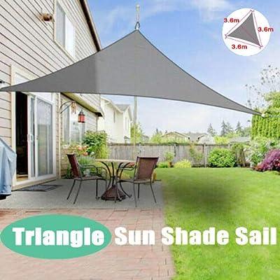 Toldo Triangular de 3, 6 m, toldo pérgola de fácil instalación, Resistente al Moho, 95% de Bloqueo UV al Aire Libre, jardín, Patio, Piscina, Tienda con Cuerda de Seguridad Gratuita, Color Gris: