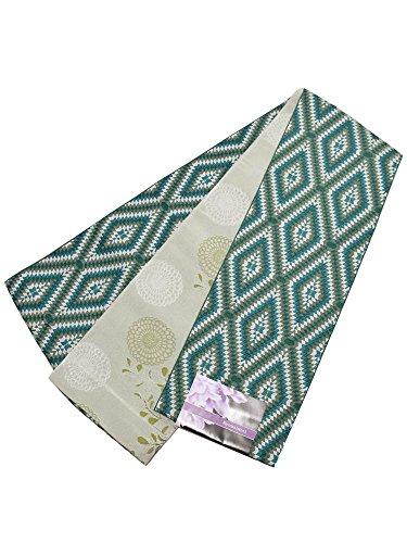 ヒロイックコイン競争[ 京都きもの町 ] 小袋 半幅帯「緑色 ダイヤ」