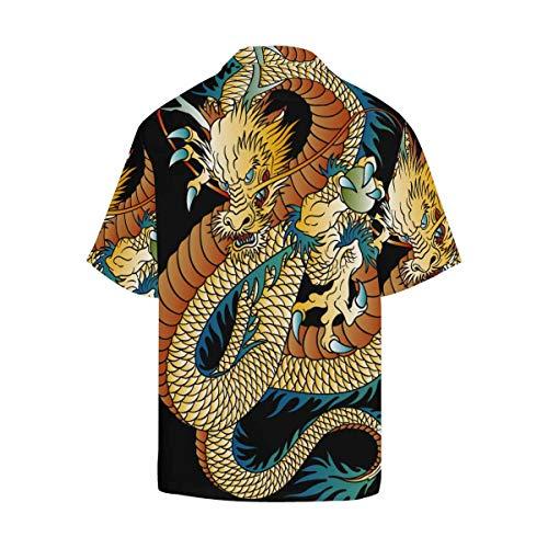 InterestPrint Men's Casual Button Down Short Sleeve Japanese Dragon Hawaiian Shirt (S-5XL)