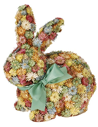 Easter Bunny Rabbit Figurine - One Holiday Lane Colorful Flower Easter Bunny Figure - Floral Rabbit Tabletop Spring Decorations (Sitting)