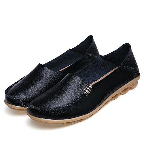 Meeshine Femmes Mocassins En Cuir Conduite Mocassins Glisser Sur Le Confort De Marche Appartements Chaussures Noires