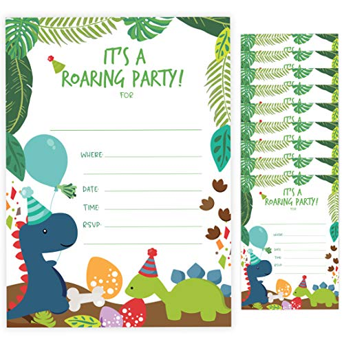 Dinosaur Dino Happy Birthday Invitations Invite Cards (10 Count) With Envelopes Boys Girls Kids Party (10ct)