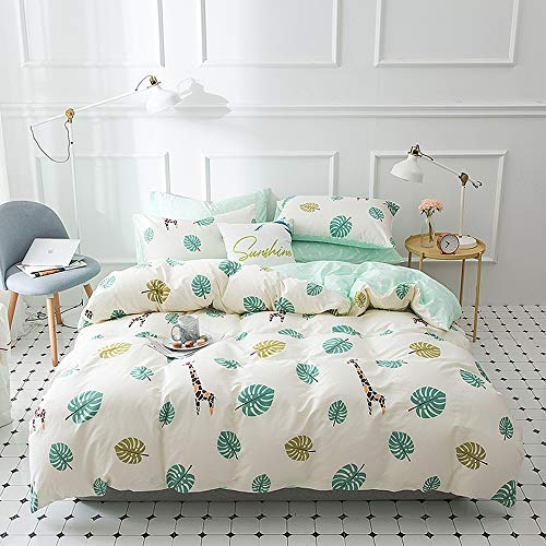 EnjoyBridal Giraffe Kids Bedding Quilt Cover Twin Sets White, Cotton Toddler Bedding Collection Twin Set with 2 Pillow Shams for Boys Girls, Super Soft Teens Duvet Cover Twin Sets, No Comforter