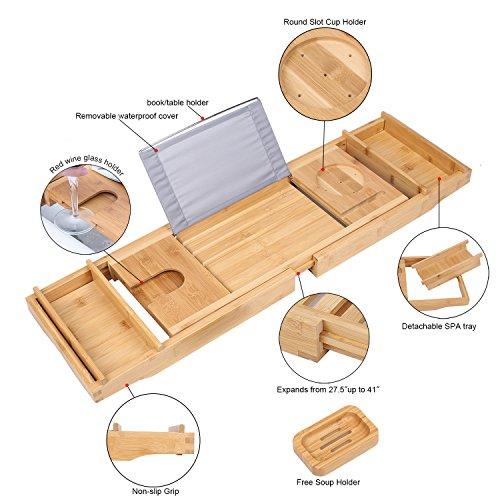 TDYNASTY DESIGN Bathtub Caddy Tray,Bamboo Wood Luxury Bath Rack Shower Organizer Tablet Holder,Cellphone Tray,Wine Glass Slots,Non-Slip Grip Soap Holder by TDYNASTY DESIGN (Image #3)