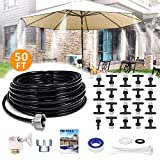 Mist Cooling System, REDTRON Cooling Mister with 50ft Mist Line & 20 Misting Nozzles, Outdoor Misting Kit for Patio Garden Greenhouse Trampoline for Waterpark