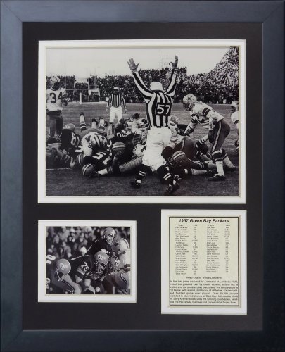 Ice Plaque Print - Legends Never Die Green Bay Packers Ice Bowl The Sneak Framed Photo Collage, 11x14-Inch
