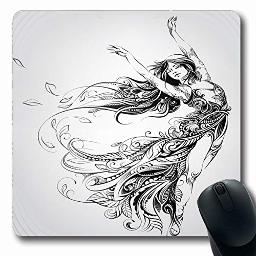 (Ahawoso Mousepads Ink Sketch Dance Girl Floral Cute Fantasy Fairy Abstract Attractive Design Tattoo Oblong Shape 7.9 x 9.5 Inches Non-Slip Gaming Mouse Pad Rubber Oblong Mat)