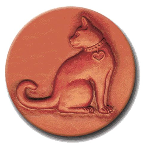 RYCRAFT 2 inch Round Cookie Stamp with Handle & Recipe Booklet-CAT With HEART