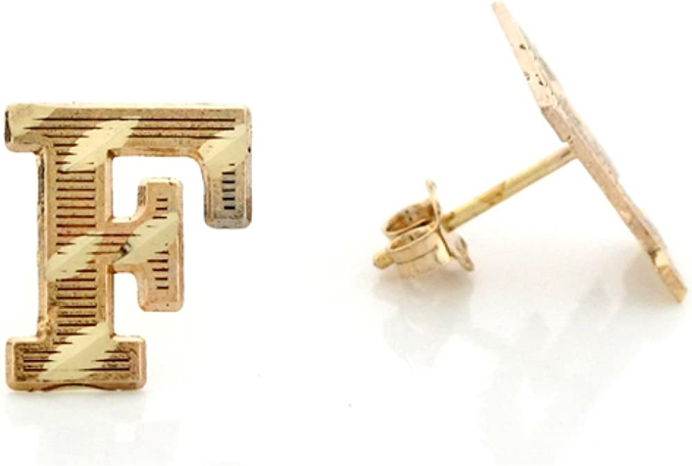 10k Real Yellow Gold Diamond Cut Letter F Initial Unisex Post Earring