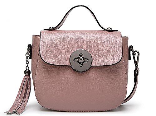 La mujer Xinmaoyuan Bolsos Bolso De cuero señoras señoras Bolso Bolso Tassel Bolsa bolso con cremallera de color sólido,negra Rosa