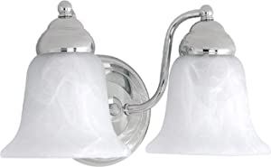 Capital Lighting 1362CH-117 2-Light Vanity Fixture, Chrome Finish with Faux White Alabaster Glass