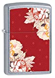 Zippo Boho Red Floral Pocket Lighter, Street Chrome
