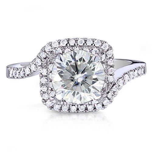 Double Halo Forever classique et diamant Bague de Fiançailles en Or 911/5/5ctw or blanc 14K _ 5.0