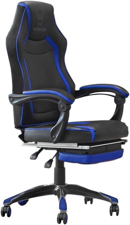 Woxter Stinger Station RX Blue - Silla Gaming (Eje de Acero,Levantamiento(Gas Pistón Clase 4),reposapiés Extensible,apoyabrazos ergonómicos,inclinación hasta 170º,Ruedas silenciosas antiarañazos