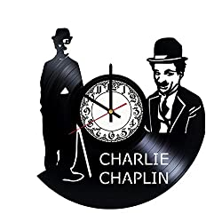 Charlie Chaplin Handmade Vinyl Record Wall Clock - Get unique room wall decor - Gift ideas for his and her - Modern Unique Home Art Design