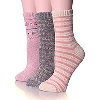 ebmore calcetines de algodón de la mujer invierno cálida y suave para clima frío Crew–Calcetines (3unidades)