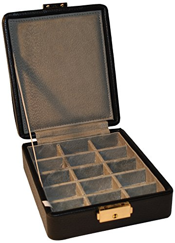 Budd Leather 15-Section Ring/Earring Box, Black
