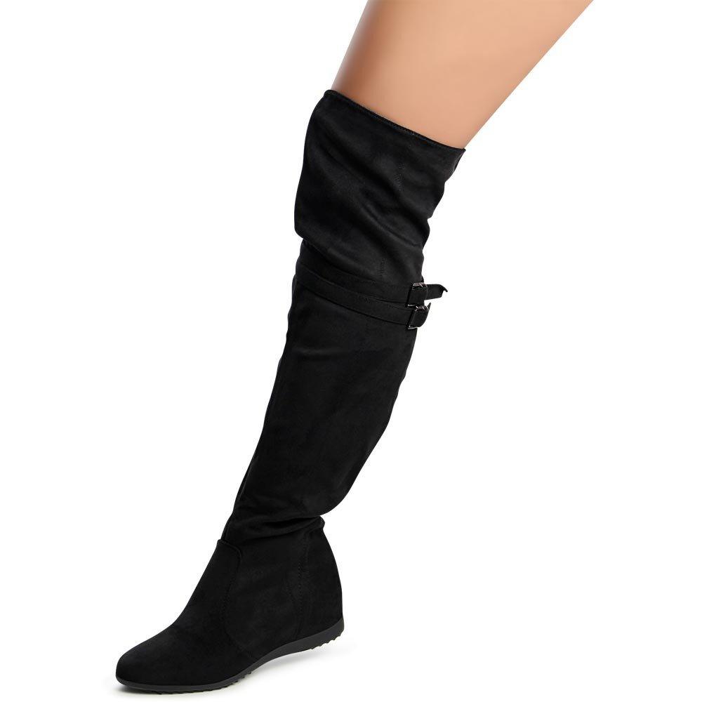 topschuhe24 972 Damen Stiefel Overknee Keilabsatz