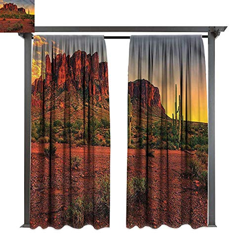 cobeDecor Thermal Insulated Drapes Saguaro Colorful Sunset in Arizona for Lawn & Garden, Water & Wind Proof W108 xL108 -