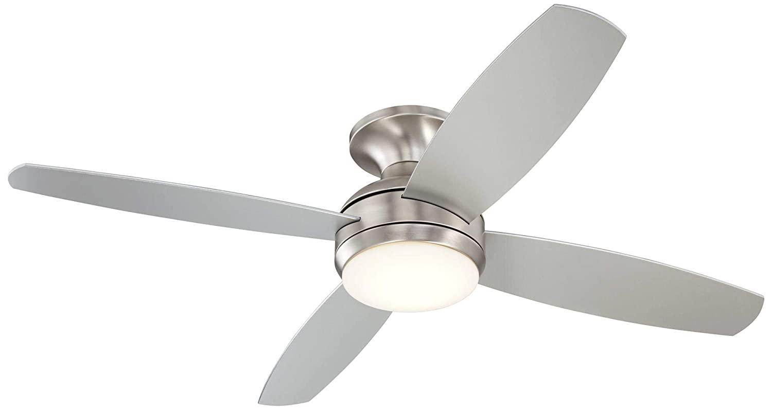 52 Casa Elite Modern Hugger Low Profile Ceiling Fan with Light LED Dimmable Remote Control Flush Mount Brushed Nickel for Living Room Bedroom – Casa Vieja