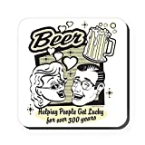 Square Coaster (Set of 4) Beer: Helping People Get Lucky