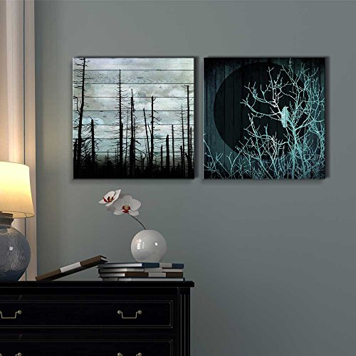 Silhouette of Trees on a Cloudy Day Along with Silhouette of a Tree with a Crow Under The Moonlight Over Wooden Panels