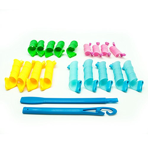 Lockenwickler Spirallocken Set, 18 Curlformer + Stab für perfekte Locken