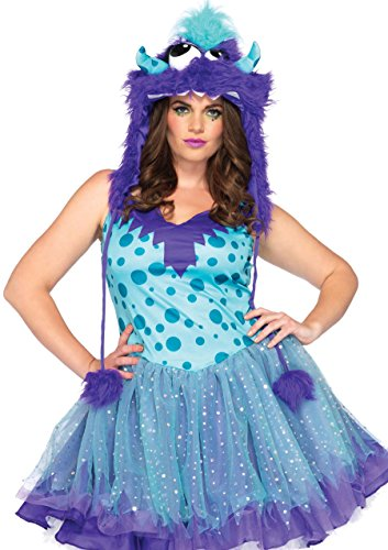 Cookie Monster Halloween Costume Female (Leg Avenue Women's Plus-Size 2 Piece Polka Dotty Monster Costume, Aqua/Purple,)