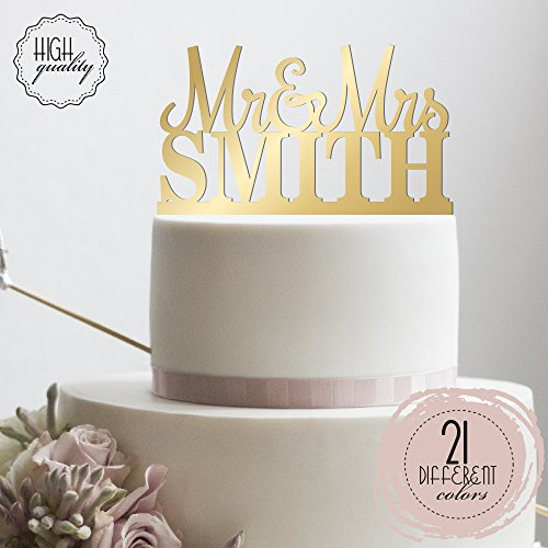 Mr & Mrs Personalized Wedding Cake Topper Custom Made Wedding Favor Customized Last Name Topper For Wedding Cake | Mirrored Cake Toppers