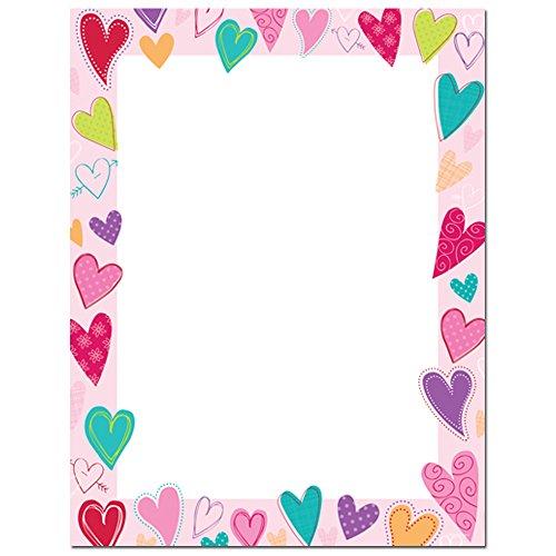 Valentine Stationery (Dancing Hearts Laser and Inkjet Printer Paper, 25 Pack)