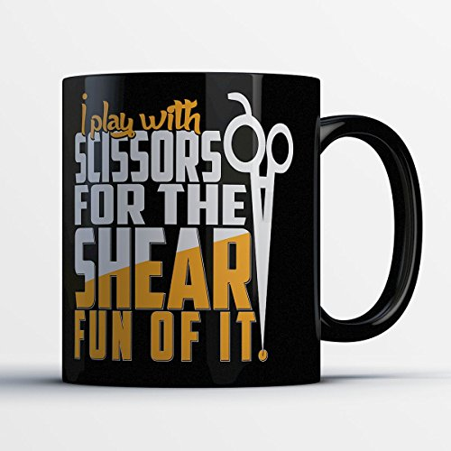 Hair Stylist Coffee Mug - Shear Fun - Funny 11 oz Black Ceramic Tea Cup - Cute and Humorous Hair Stylist Gifts with Hair Stylist Sayings