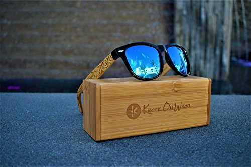 533b81af9aa9 Koa Wood - Wayfarer Bamboo Sunglasses Polarized Lenses By Knock On Wood -  Tribal Design (Black