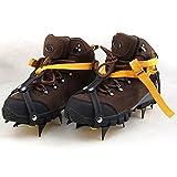 Lixada ストラップタイプ 10本爪 アイゼン 滑り止めスパイク ベルトに簡単装着 収納ケース付き 雪山 登山 トレッキング