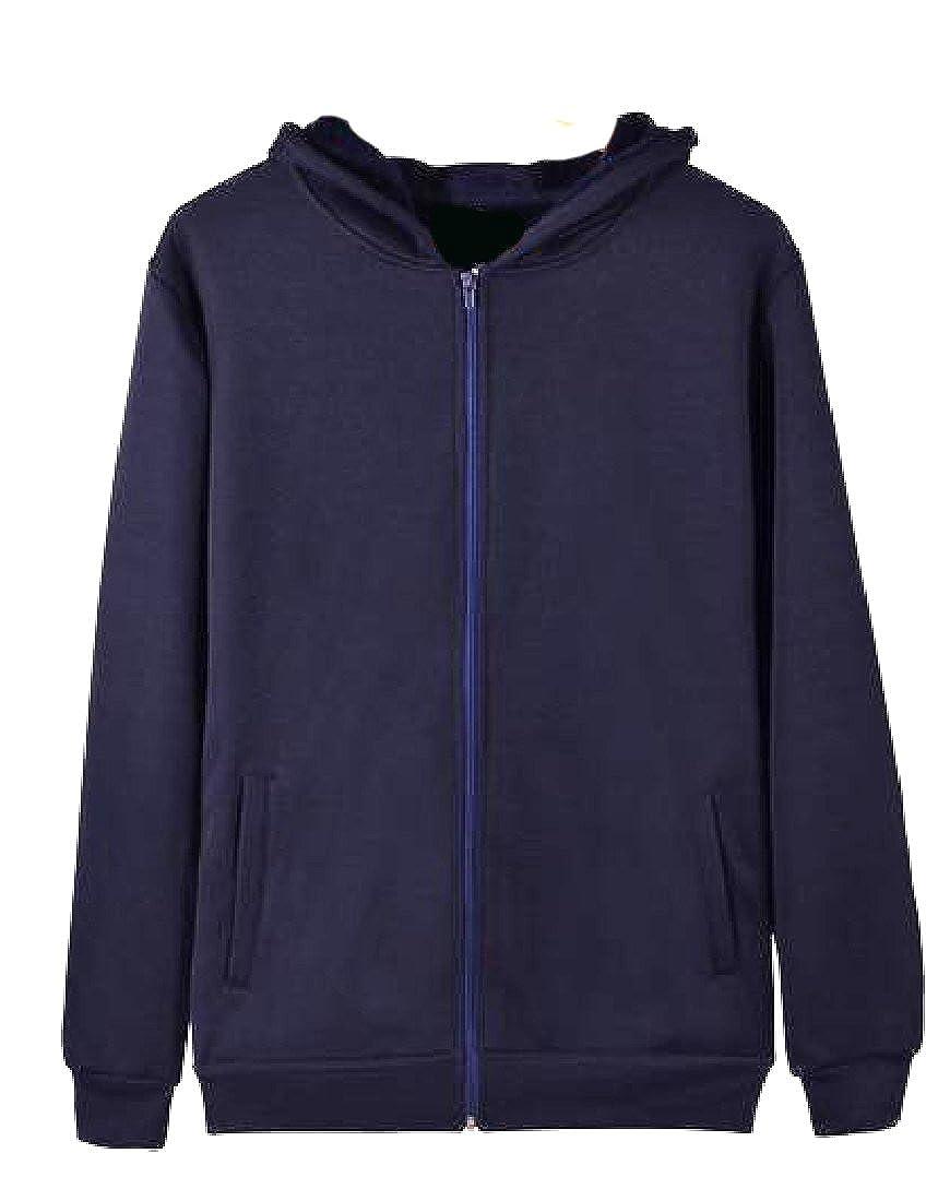 Honey GD Womens Plus Size Long Sleeve Solid Zipper Hooded Hoodies Tops