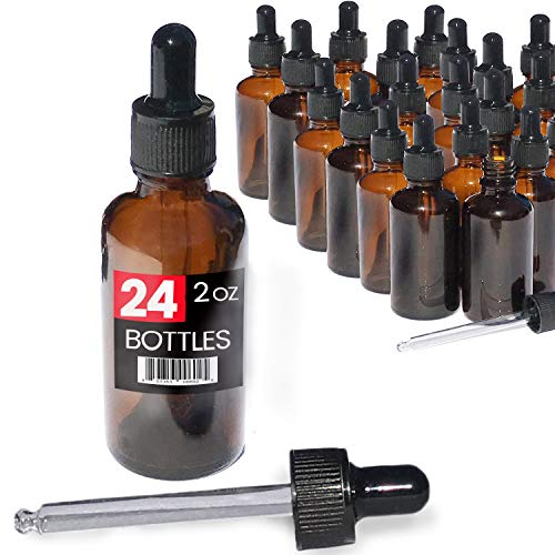 (2oz Premium Dropper Bottles (24 pack) - Great for Essential Oils - Amber 2 oz Glass - Glass Eye Dropper - Guaranteed Non-Break Shipping)