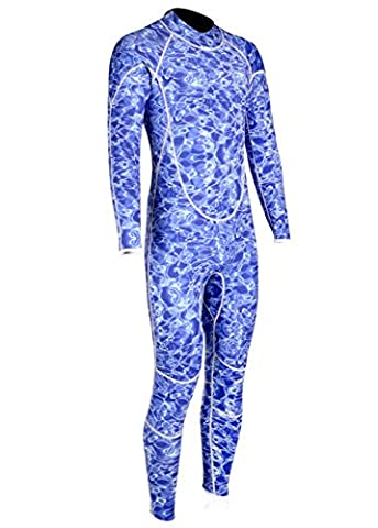 REALON Wetsuit Mens 3mm Neoprene Blue Mimetic Camo Diving Fullbody Spearfishing Freediving Jumpsuit Full Suit for Diving Snorkeling Swimming(L)