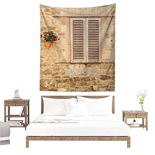 - alisoso Wall Decor Room Tapestry,Tuscan Decor Collection,Sunset Landscape in Tuscany with Ancient Farmhouse Vineyard and Green Meadow Picture,Beige W47 x L47 inch Printed Nature Wall Tapestry