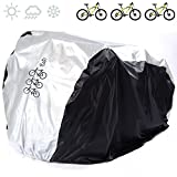 FUCNEN Universal Bike Covers 190T Nylon Waterproof Portable Lightweight for Outside Indoor Storage 3 Bikes Heavy Duty Bicycle Cover Anti Dust Rain UV Protection for Mountain Road Bike