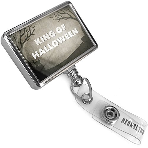 Retractable Plastic ID Badge Reel King of Halloween Halloween Graveyard with Bulldog Belt Clip On Holder Neonblond ()