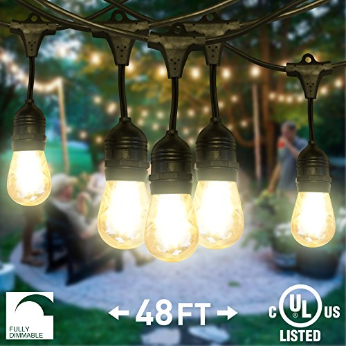 NITOR Lighting LED String Lights, Outdoor, Dimmable, 48ft Commercial-Grade Light Strand, 15 Bulbs Included, IP65 Weatherproof 1.5 Watt Edison Style S14 Bulbs, Perfect for Patio Lighting, Porch Lights, Weddings, Backyard Parties, Home & Garden, UL Listed