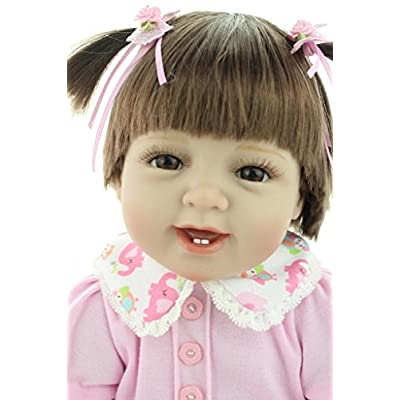 Nicery Reborn Baby Doll Soft Simulation Silicone Vinyl Cloth Body 22inch 55cm Lifelike Vivid Boy Girl Toy for Ages 3+ RD55C052: Toys & Games