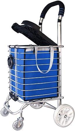 JJHOME-Carritos Escalera de Escalada Carrito de Compras Ligera aleación de Aluminio 4 Ruedas Carro Grande Cesta de supermercado Plegable con Asiento/portavasos en Azul Bolsillo de Compras: Amazon.es: Hogar