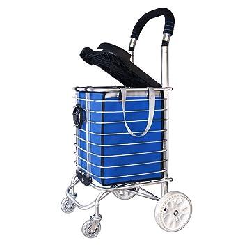 ... aleación de Aluminio de Lujo 4 Ruedas Carro Grande Cesta de supermercado Plegable con Asiento/portavasos en Azul Bolsillo de Compras: Amazon.es: Hogar