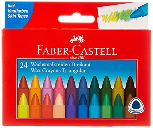 Faber-Castell AR-120024 – Triangular Cera 24 Veces Tiza Estuche de cartón