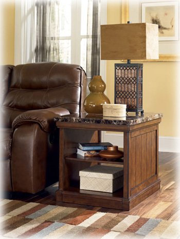 Ashley Furniture Signature Design - Merihill End Table - Rectangular - Faux Marble Top with Medium Brown Base