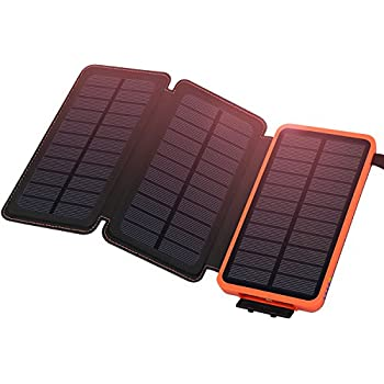 Solar Charger Waterproof 24000mAh ADDTOP Power Bank with 3 Foldable Solar Panels Portable Battery Pack 2 USB For iPhoneX, 8/7plus, iPad, Samsung, All Smartphone, Outdoor Camping Travelling